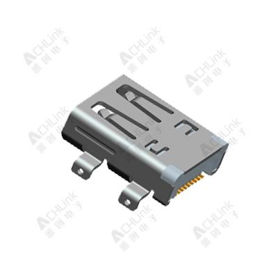 Micro HDMI (D type) 19pin receptacle STD. Mid-mount CH=1.0mm Dual-SMT type