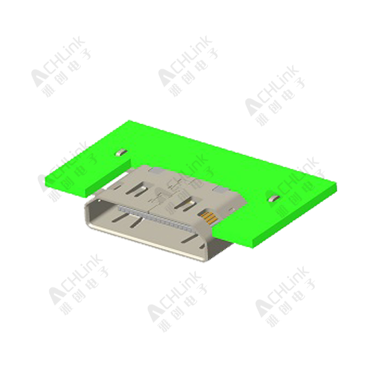 Mini HDMI (C type) 19pin REC.0.40 Pitch. Mid-Mount. Board-Height=1.66mm. SMT Type