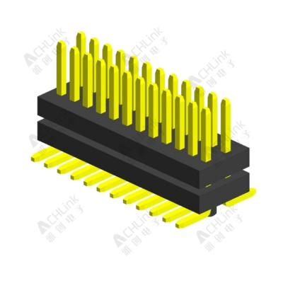 PIN HEADER PH0.8*1.2MM DOUBLE ROW DOUBLE PLASTIC SMT H=1.40MM