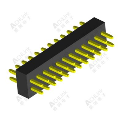 PIN HEADER PH1.0*1.0MM DOUBLE ROW SINGLE PLASTIC 180°  H=1.00MM