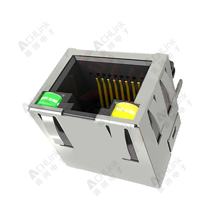 RJ45 CONNECTOR 8P8C 90° LRON SHELL PACKAGE WITH LAMP SHRAPNEL