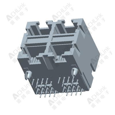 RJ45 CONNECTOR 8P8C 90° ALL-PLASTIC FOUR CONJOINED-1